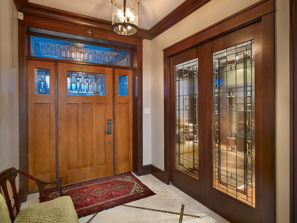 Door Mat Inserts with Traditional Entry  and Bench Seat Crown Molding Dark Stained Wood Entry Rug French Doors Lantern Leaded Glass Stained Glass Wood Trim