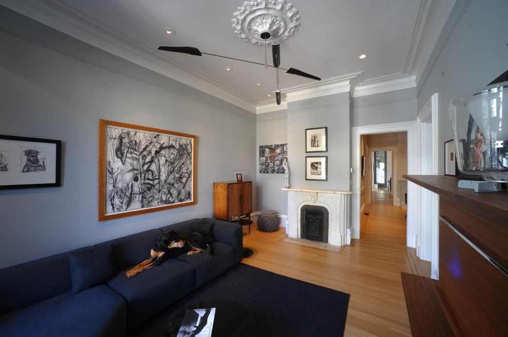 Dorian Gray Painting   Contemporary Living Room  and Artwork Ceiling Detail Ceiling Medallion Fireplace Fireplace Mantel Gray Paint Gray Walls Light Fireplace Light Wood Floor Modern Light Fixture Ornate Ceiling Wall Art White Crown Molding