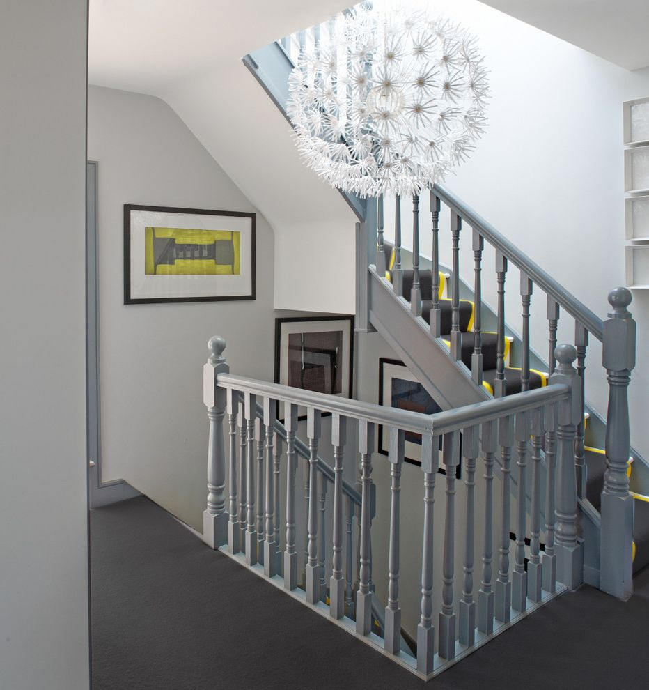 Dorian Gray Painting with Contemporary Staircase  and Banded Stair Runner Gray Balustrade Gray Banister Gray Carpet Grey and Yellow Open Plan Pendant Light Turned Balusters Yellow