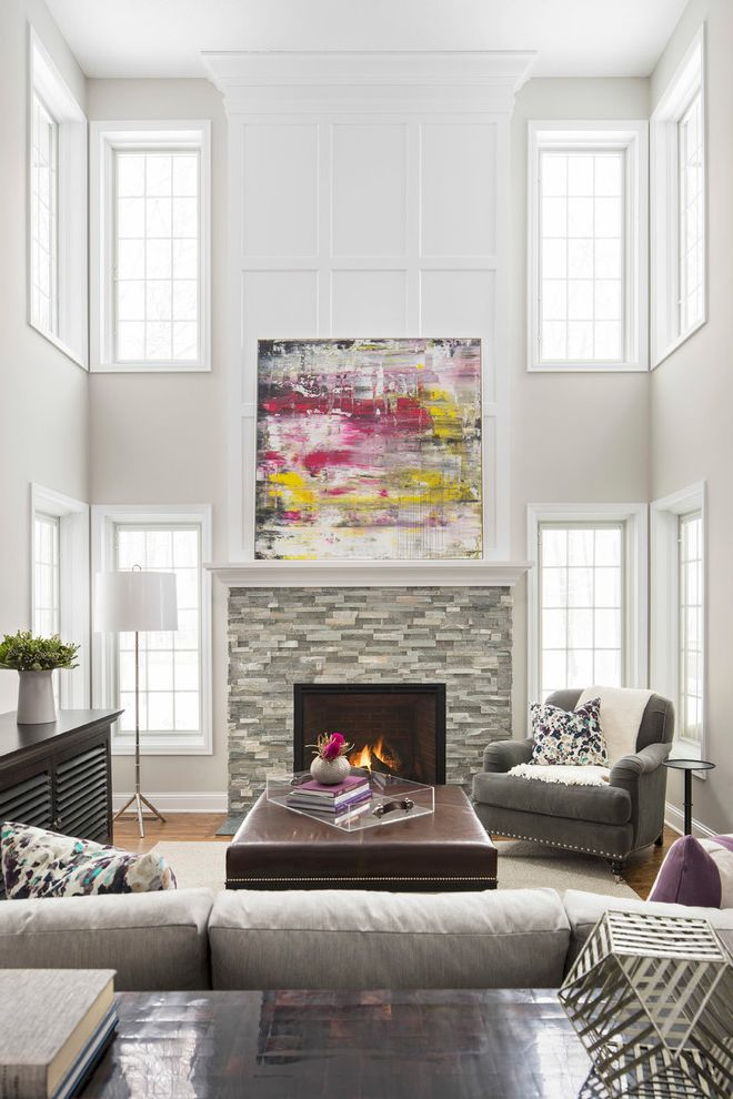 Dorian Gray Painting With Transitional Living Room And Abstract Art Clerestory Windows Floor Lamp Armchair Sofa High Ceiling Nailhead Trim Stacked