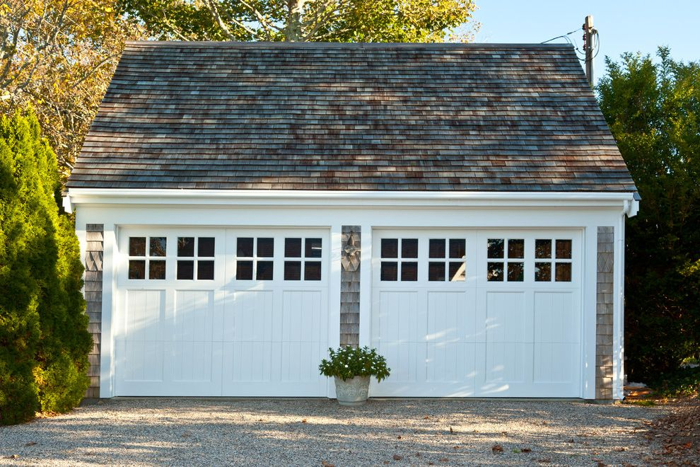 Double Wide Garage Door with Traditional Garage  and Gravel Driveway Shingle Two Garage Doors White Garage Doors