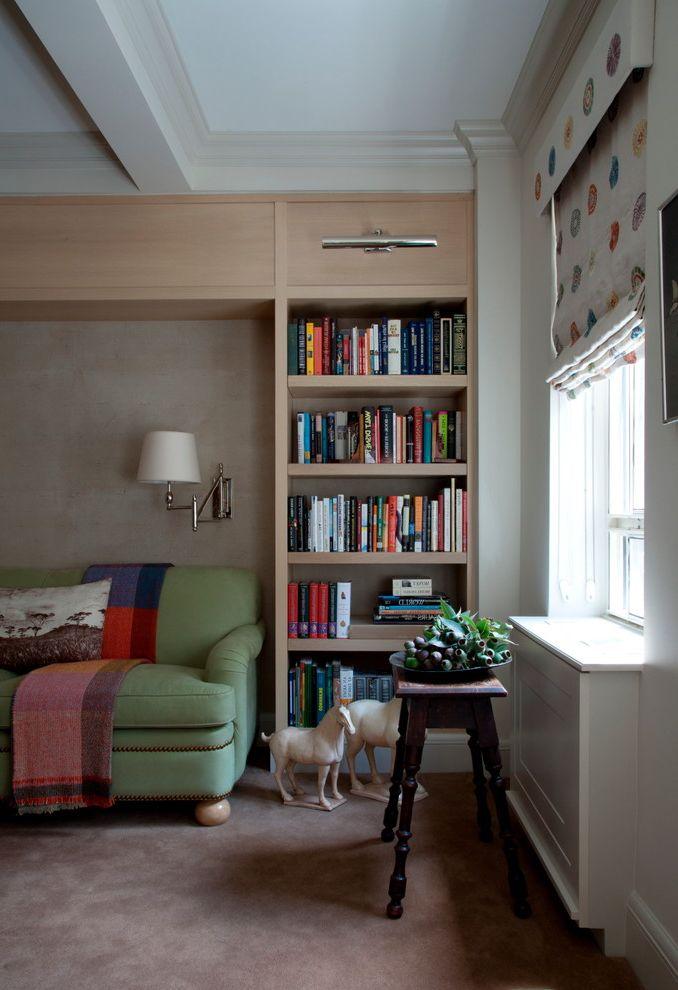 Downright Pillows   Transitional Family Room Also Box Beam Carpeting Custom Bookshelves Green Sofa Library Light Plant Stand Reading Light Roman Shades Wall Sconce