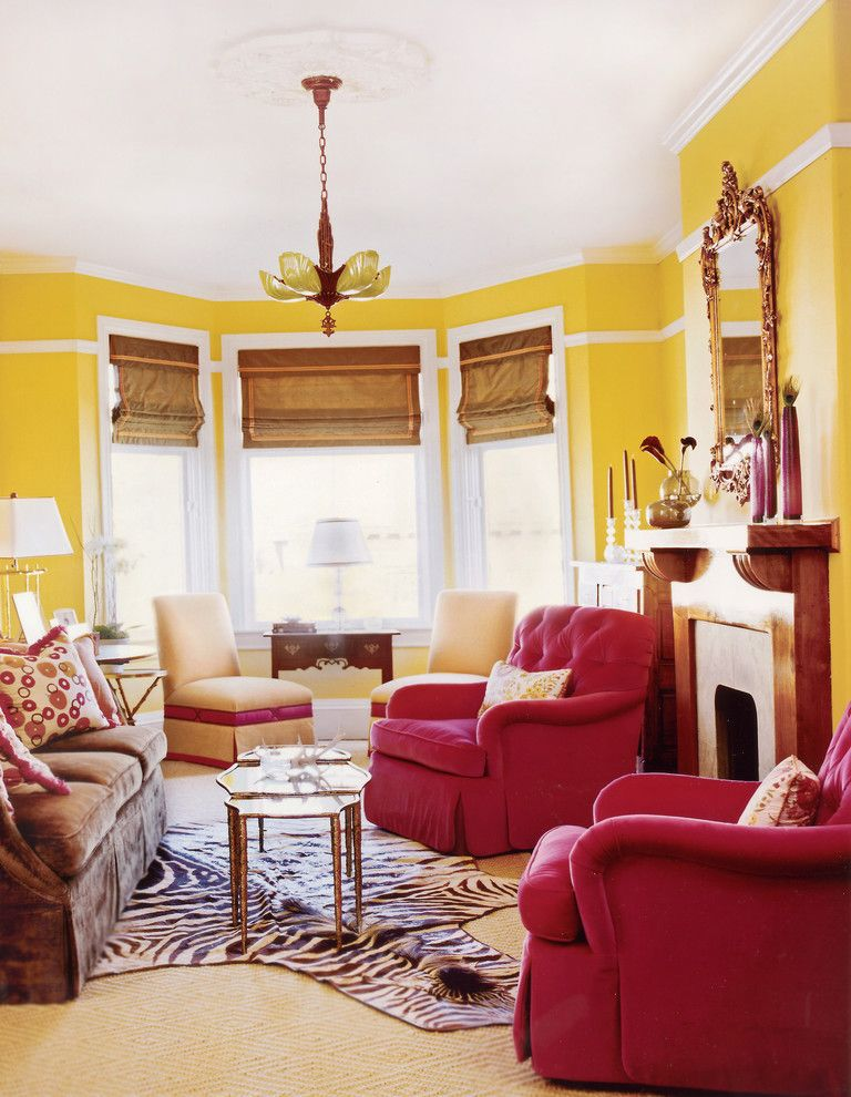 Downright Pillows with Victorian Living Room Also Bay Window Bright Pink Brown Sofa Carpet Decorative Pillows Deep Button Fireplace Fuchsia Armchairs High Back Chairs Mirror Moulding Pendant Light Roman Shades Wood Mantle Yellow Walls Zebra Rug