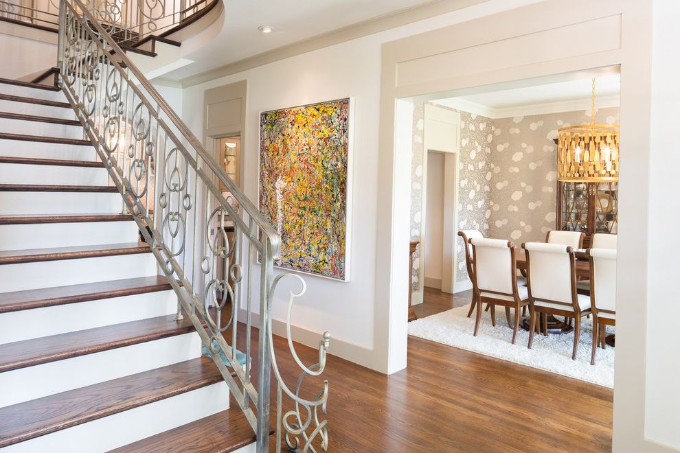 Dr Horton Dallas   Transitional Staircase Also Dining Room Entry Foyer Landing Metal Banister Wall Art