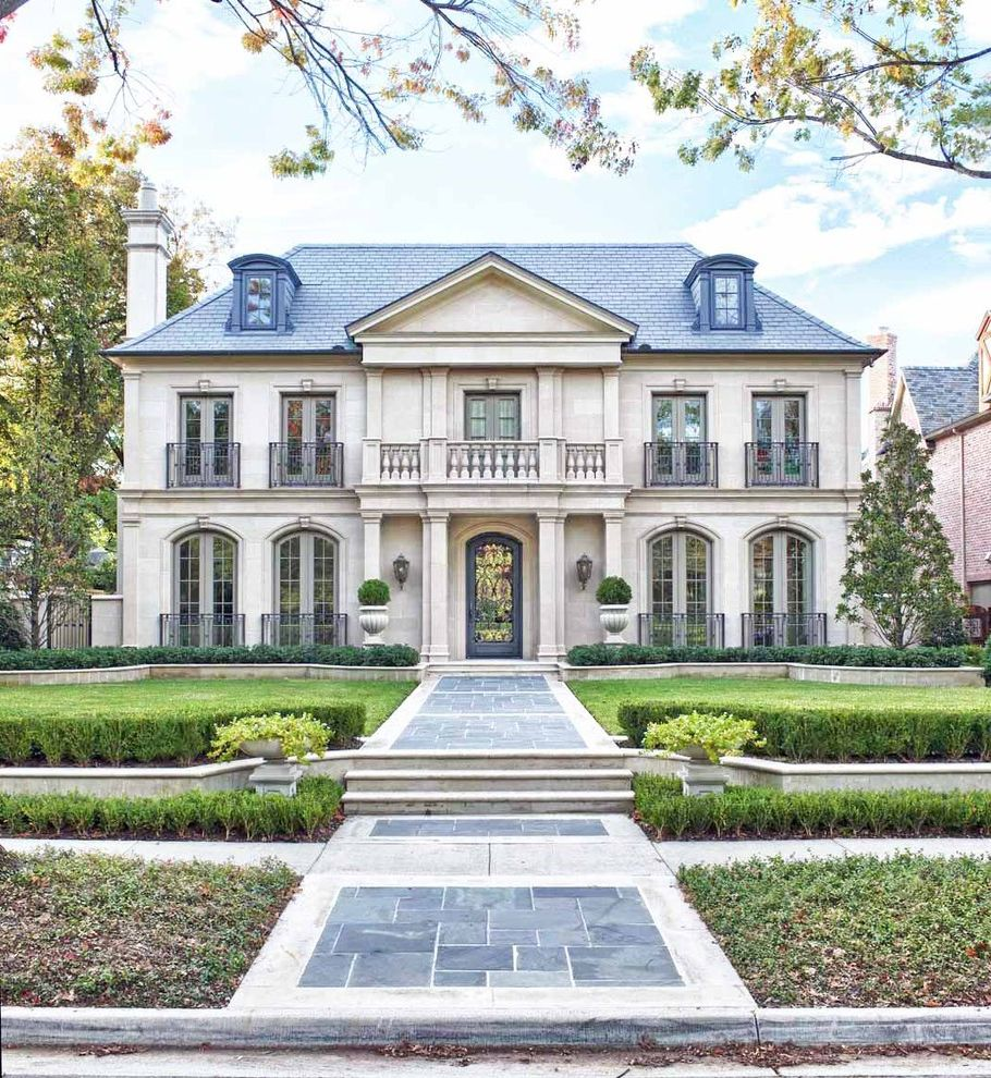 Dr Horton Dallas with Traditional Exterior Also Arched Windows Arches Door Balcony Blue Stone Column Country Estate Entry France French Doors Irom Balcony Limestone Manor House Path Pavers Slate Roof Urns