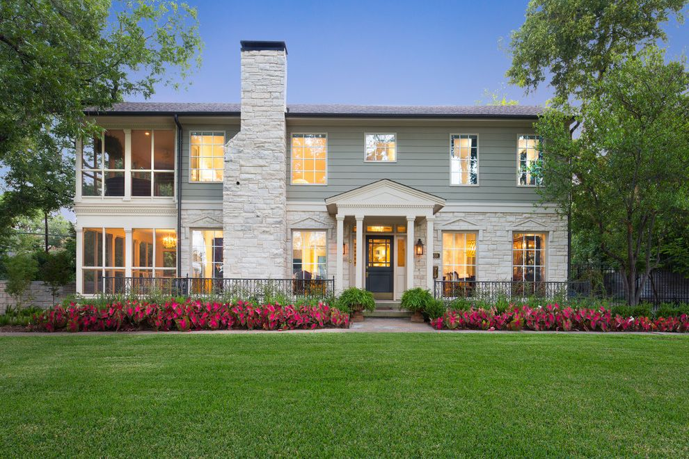 Dr Horton Dallas with Transitional Exterior Also Chimney Covered Entry Fence Flowers Lawn Portico Screened Porch Stone Siding Windows Wood Siding