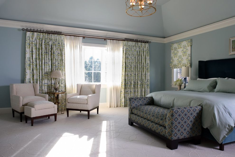 Drapery Rods for Wide Windows with Contemporary Bedroom Also Arm Chairs Blue Carpeting Chandelier Crown Molding Curtain Panels Duvet Pendant Light Picture Rail Roman Shade Seating Area Sheers Upholstered Bench Seat White Trim Window Treatment