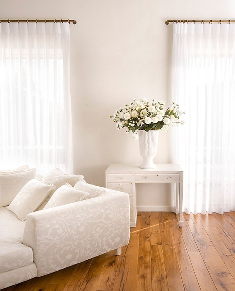 Drapery Rods for Wide Windows with Eclectic Bedroom  and Clean Curtains Desk Feminine Flowers Hardwood Floors Sectional Simple Sofa Throw Pillows Vase White