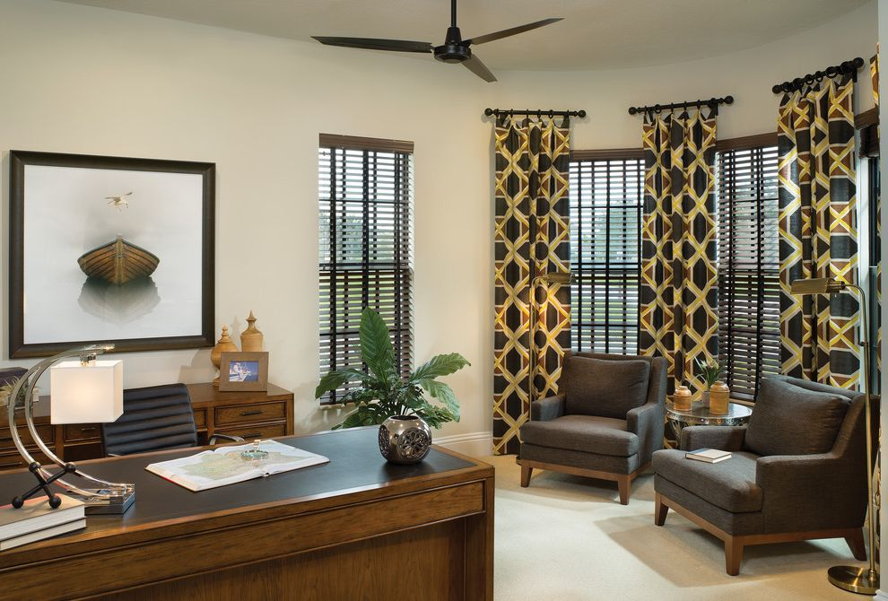 Drapery Rods for Wide Windows with Mediterranean Home Office  and Bay Widow Brown Armchairs Ceiling Fan Framed Artwork Patterned Curtains Table Lamp