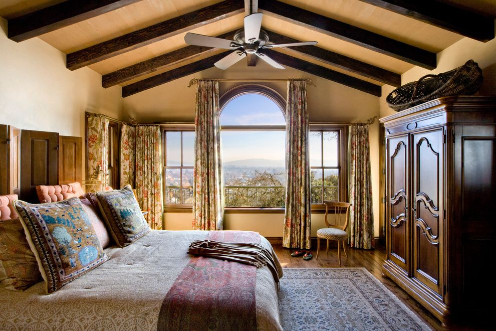 Drapery Rods for Wide Windows with Rustic Bedroom Also Beams Ceiling Fan Closet Oriental Carpet Rustic Timber Vaulted Ceiling Window Treatment Wood Beams Wood Floor