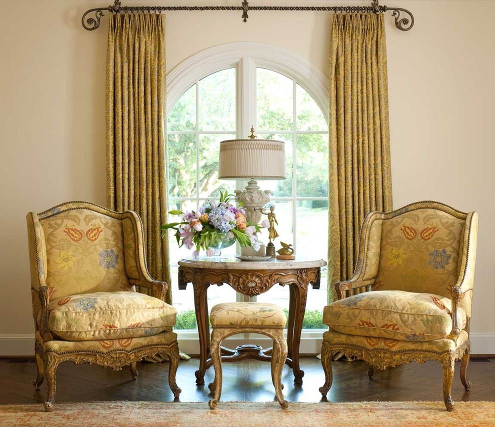 Drapery Rods for Wide Windows with Victorian Living Room Also Arched Window Armchair Curtain Drapes Gold Iron Marble Table Rug Stool Window Treatment Wood Floor
