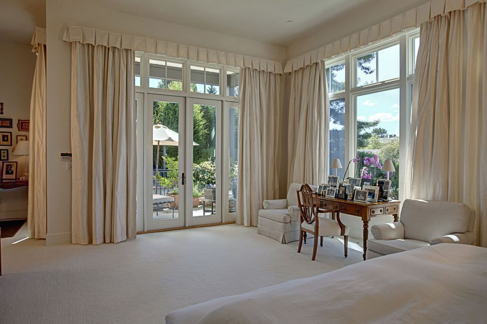 Drapes Definition   Traditional Bedroom Also Curtains Drapes French Doors Glass Doors Monochromatic Neutral Colors Patio Doors Transom Valance White Bedroom Window Treatments