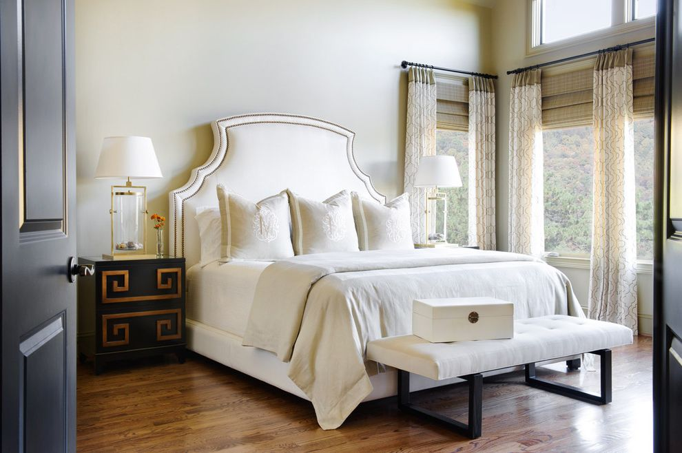 Drapes Definition   Traditional Bedroom  and Bamboo Blinds Bedroom Bench Brass Clerestory Drapes Greek Key High Ceiling Ivory Ivory Bedding Jewelry Box Large Windows Nightstand Quatrefoil Upholstered Headboard