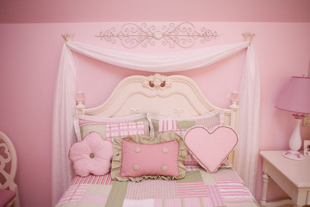 Drapes Definition with Traditional Kids  and Antique Metal Crowns Bows Chiffon Chiffon Draping Behind Bed Crowns Crystals Desk Draping Dressing Table Girls Green Checked Hand Painted Coat Hooks Pillows Pink Pink Walls White Furniture