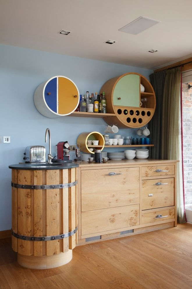 Drink Dispenser with Ice Core with Contemporary Home Bar  and Custom Built Cabinets Pale Blue Walls Recessed Lights Round Floating Shelves Round Undermount Sink Wood Floating Shelves