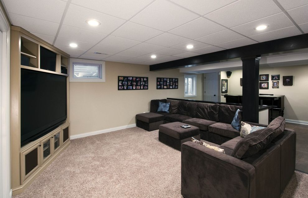 Drop Ceilings for Basements   Contemporary Home Theater  and Basement Comfy Basement Corner Theater Corner Tv Drop Ceiling Mount Tv Open Basement Recessed Lights Theater Tv Area