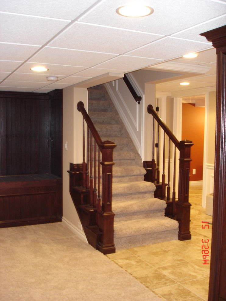 Drop Ceilings for Basements   Traditional Basement Also Ceramic Tile Drop Ceiling Finished Basement Stairs Wainscoting
