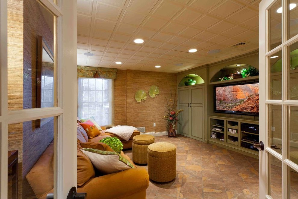 Drop Ceilings for Basements   Tropical Basement  and Tv Area with Build in Cabinets