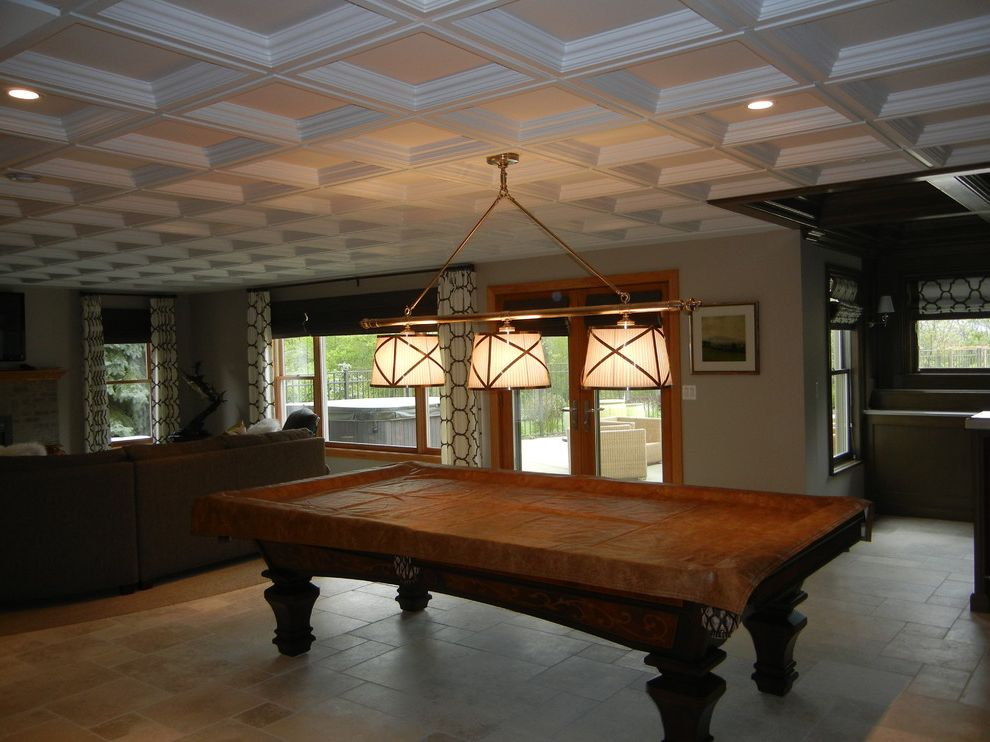Drop Ceilings for Basements with Contemporary Basement  and Basement Family Room Coffered Ceiling Drop in Ceiling Geometric Prints Lighting Limestone Flooring Natural Tile Pool Table Lighting Tile Flooring