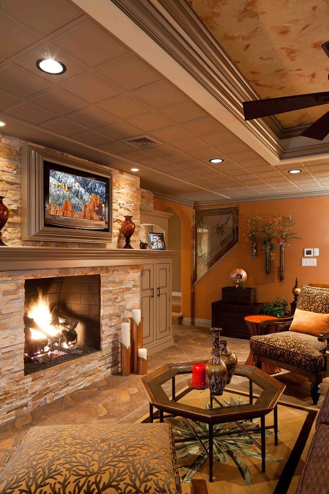 Drop Ceilings for Basements with Tropical Family Room  and Tv Room with Fireplace