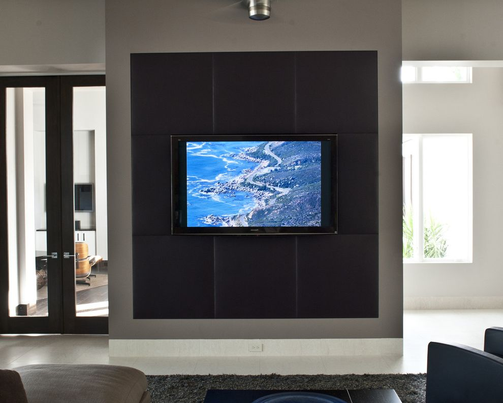 Drop Down Tv Wall Mount   Contemporary Home Theater Also Accent Wall Accent Wall with Tv Black Tv Surrounding Maskuline Patio Door Tv Tv Wall