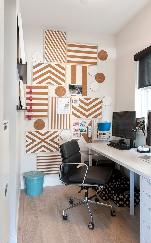 Dry Erase Board Paint   Contemporary Home Office  and Black Task Chair Black Window Shades Blue Trash Can Bulletin Boards Corkboard My Houzz Polka Dot Storage Boxes White Desktop White Stripes