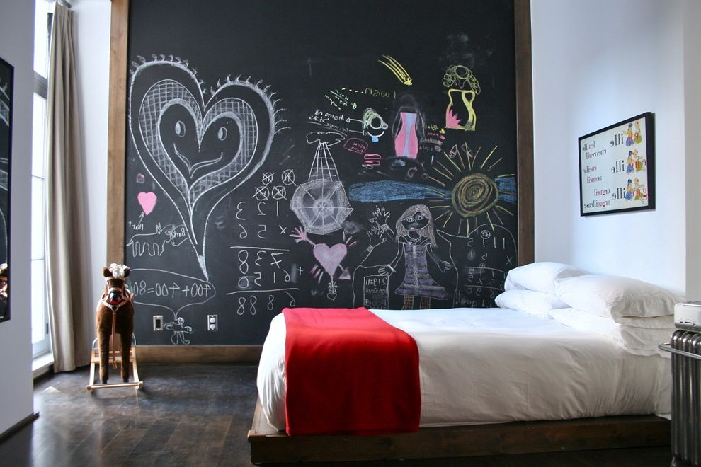 Dry Erase Board Paint with Eclectic Kids  and Chalkboard Wall Dark Floor High Ceilings Red Blanket Rocking Horse Wall Art White Bedding Wood Flooring