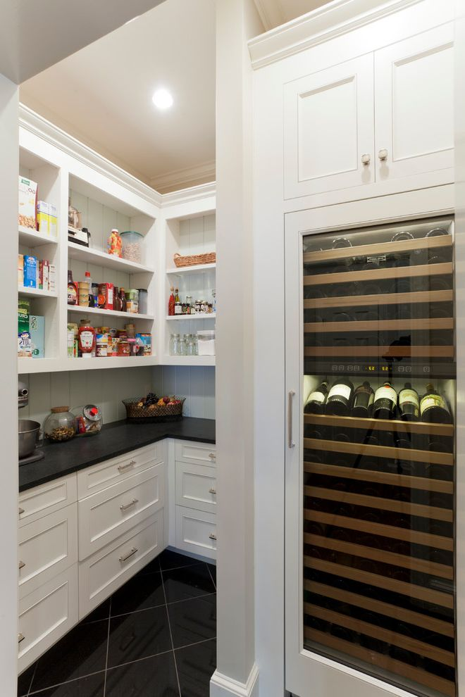 Dual Zone Wine and Beverage Cooler   Traditional Kitchen  and Beadboard Black Countertop Open Shelves Shaker Cabinets Shelves Tiled Floor White Kitchen Cabinets Wine Fridge