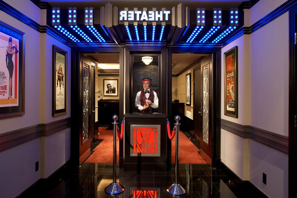 Dubois Movie Theater with Traditional Home Theater  and Cinema Home Theatre Light in Ceiling Movies Red Theatre Entrance
