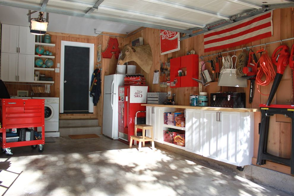 Duvall Plumbing with Eclectic Garage Also American Flag Cabinets Cedar Lined Coca Cola Concrete Slab Cow Head Garage Organization Open Shelving Overhead Garage Door Red Rolling Tool Carts Step Ladder Tools Upcycled Cabinets in the Garage World Globes