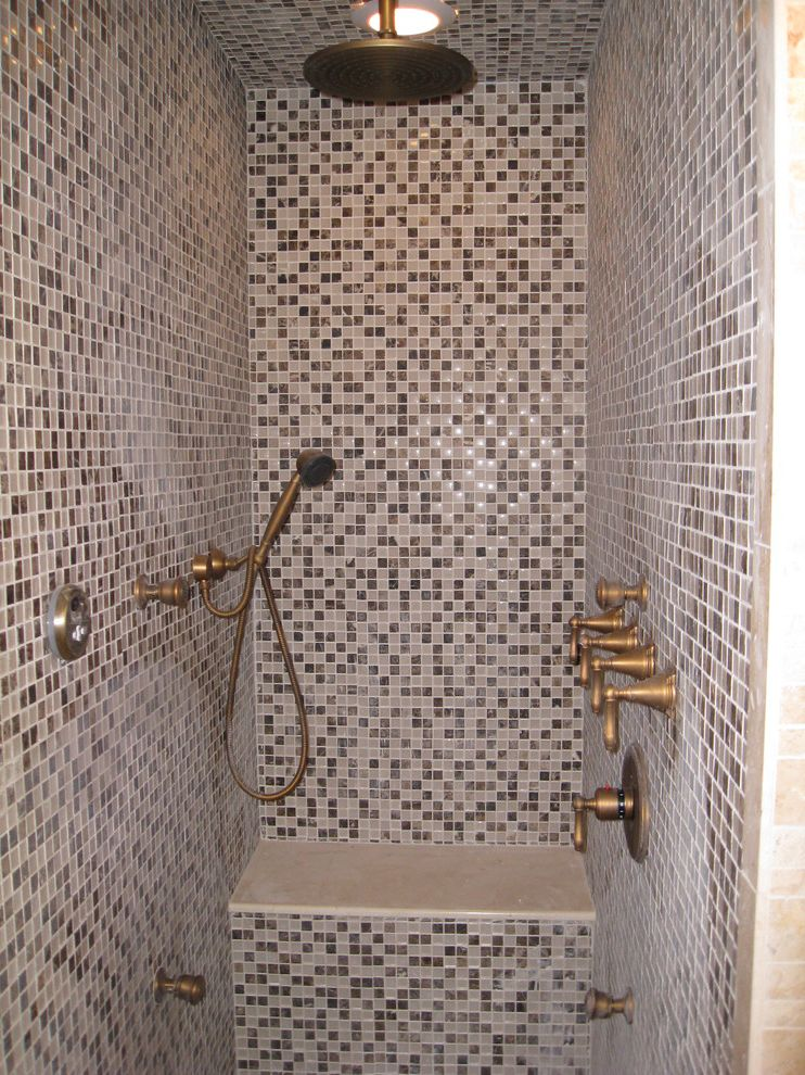 Dxl Near Me   Traditional Bathroom  and 1 Tile 1x1 Tile Antiqued Bronze Bronze Faucet Gray Marble Mosaic Rain Shower Shower Bench White