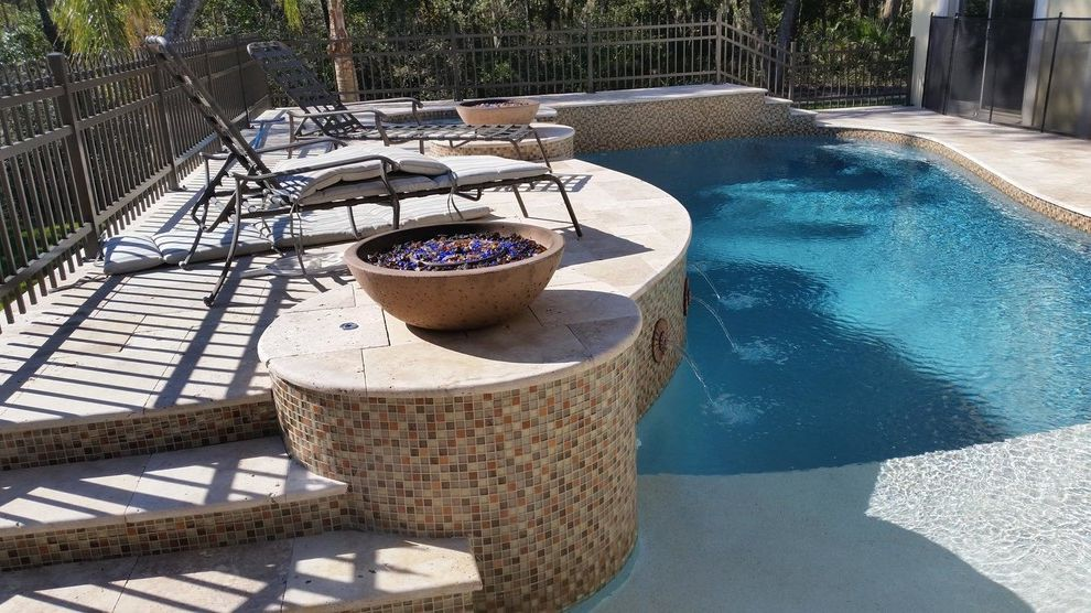East Coast Spas    Pool Also Beach Pool Fire Pits Tan Mosaic Tiles Two Level Pool Vase Firepit