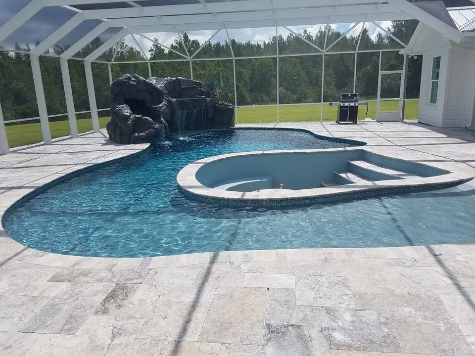 Indoor Pool With Fire Pit & Rock Water Feature $style In $location