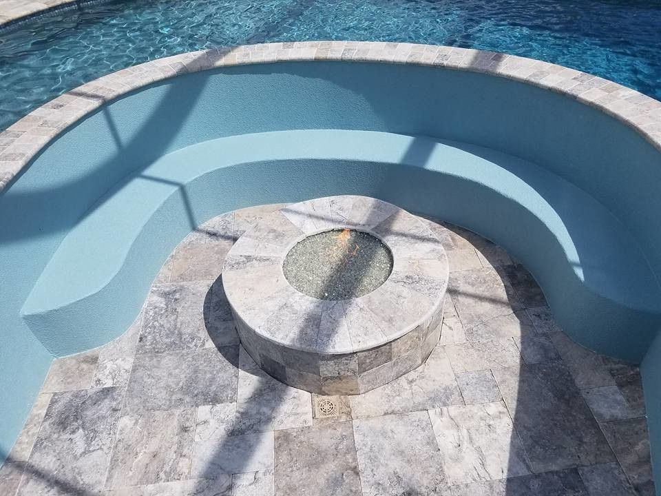 East Coast Spas with  Pool  and Fire Pit in Pool Fire Pit Set in Pool in Pool Fire Pit in Pool Seating Area Indoor Pool Pool Seating Area Pool Water Fountain Rock Water Feature Rock Water Fountain
