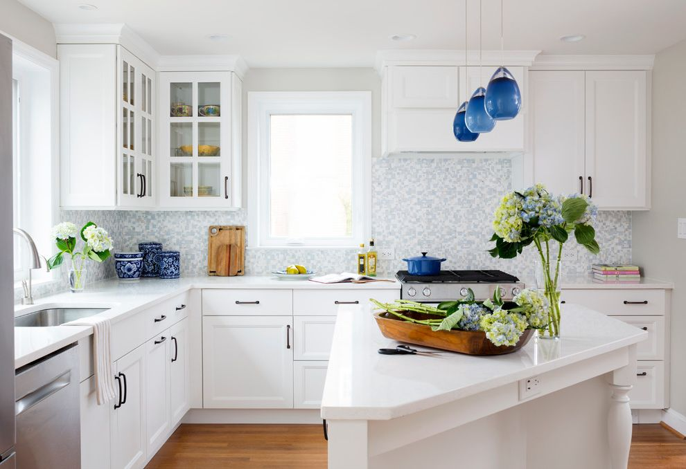 Eclipse Faucets   Traditional Kitchen  and Angled Island Best Blue and White Mosaic Blue Pendant Lights Bosch Everpure Franke Opus Azule Q Stone Jumbo Slabs Fairy White Sharp Showplace Wood Products White Countertop