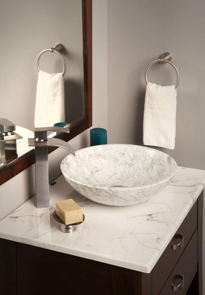 Novatto Carrera White Marble Vessel Sink With Novatto Eclipse Faucet $style In $location