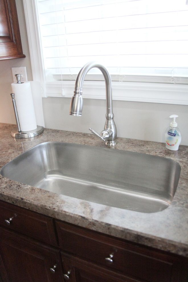 Eclipse Faucets with Traditional Kitchen  and Cabinets Countertop Eclipse Faucet Karran Kitchen Laminate Lighting Under Mount Sink Undermount Sink Undermount Sinks Wilsonart
