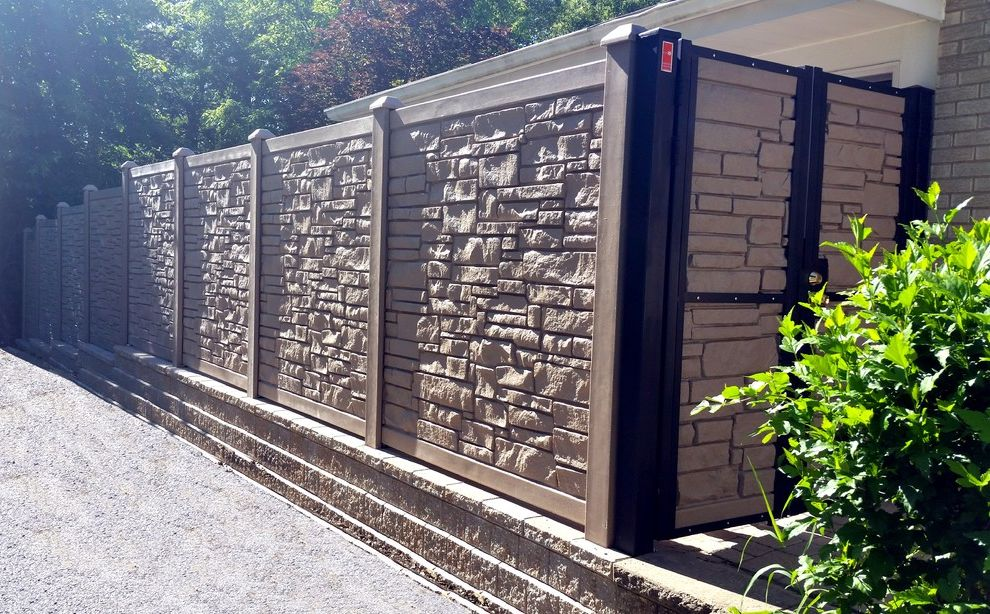 Ecostone Fence   Contemporary Landscape  and Ecostone Fence Fencing Gates Iron Simtek