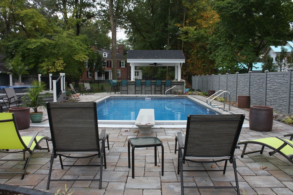 Ecostone Fence with  Pool Also Automatic Cover Cover Exterior Outdoor Outdoor Dining Pool