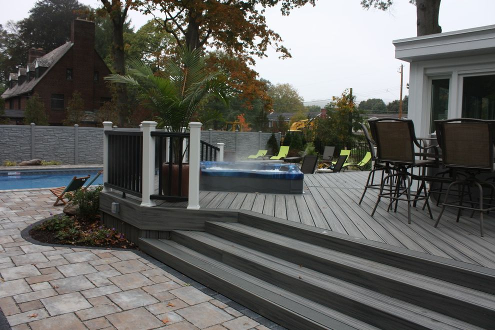 Ecostone Fence with  Pool  and Automatic Cover Composite Cover Decking Exterior Fencing Gates Hot Tub Hot Tub Pool Supplies Outdoor Outdoor Dining Pool Stones Trex