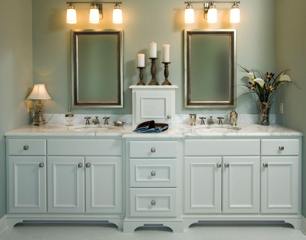 Eden Prairie Theater   Traditional Bathroom  and Bathroom Light Marble Mirror Stone Stone Countertop Storage Tiled Floor Vanity White White Floor White Vanity