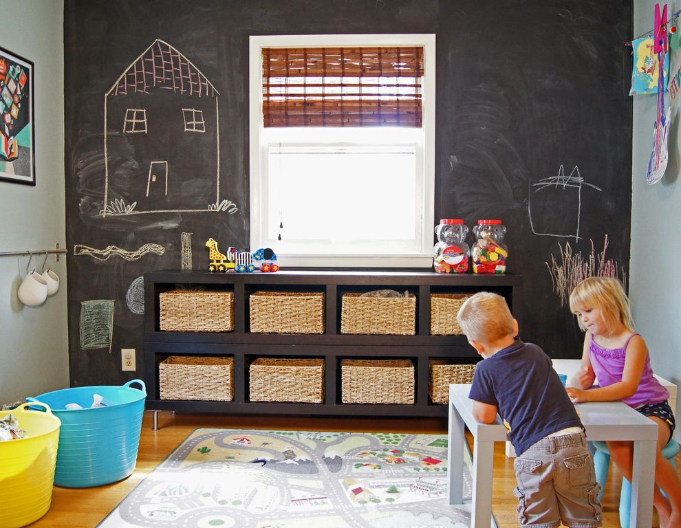 Eden Prairie Theater   Transitional Kids Also Accent Wall Chalkboard Wall Kids Furniture Kids Rug Natural Window Shades Playroom Roman Shades Storage Baskets Storage Tubs Toy Storage Window Treatments Wood Flooring