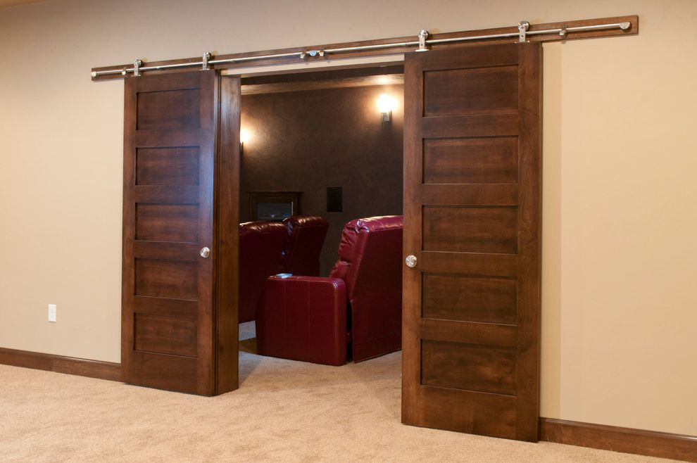 Eden Prairie Theater with Contemporary Home Theater  and Five Panel Doors Sliding Doors Into Theater Room Stainless Steel Sliding Door Hardware