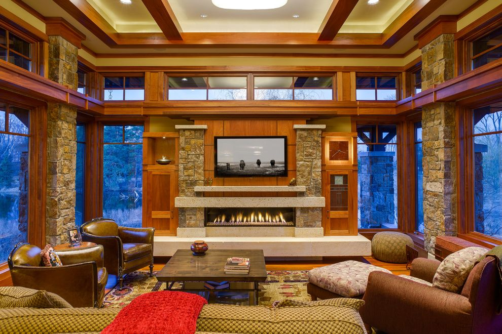 Eden Prairie Theater with Craftsman Living Room Also Arts and Crafts Style Living Room Clerestory Windows Coffered Ceiling Leather Armchairs Narrow Fireplace Prairie Style Raised Hearth Fireplace Square Coffee Table Transom Windows