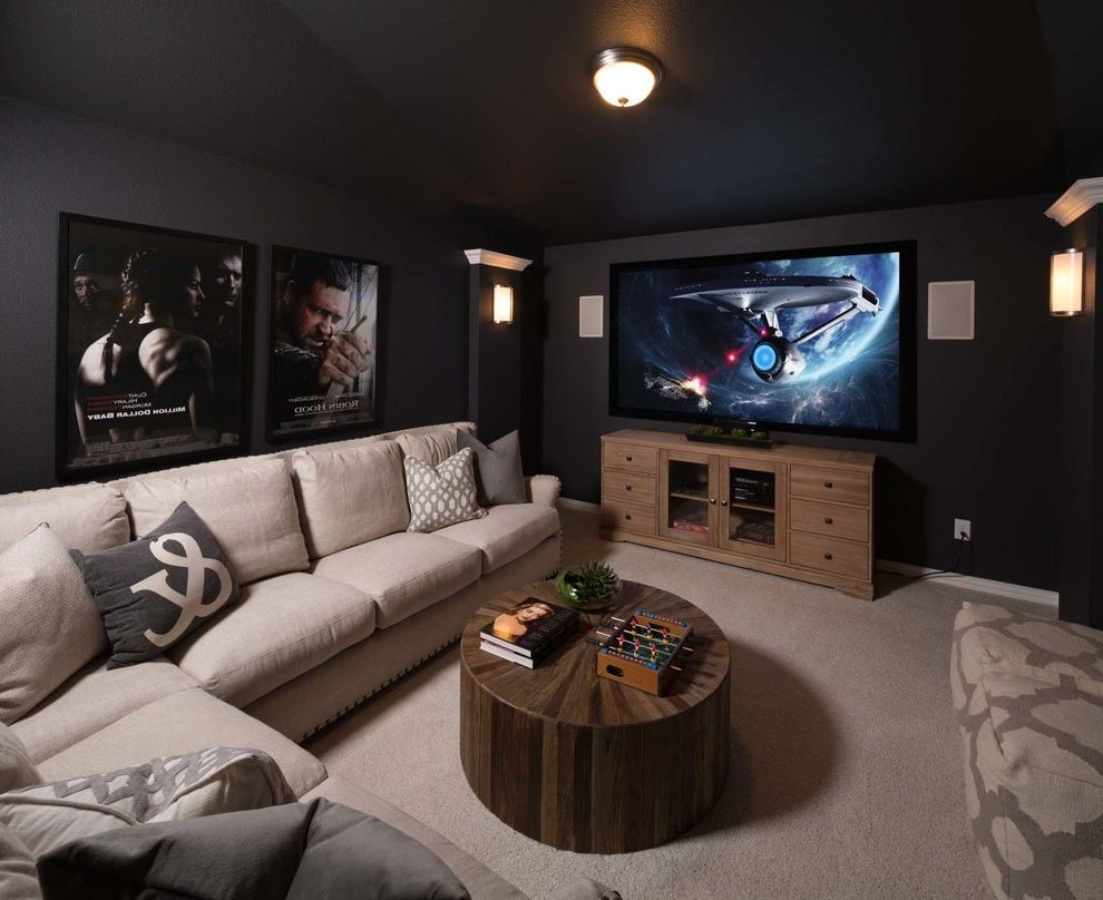 Eden Prairie Theater with Transitional Home Theater Also Sconces Sectional Sofas Surround Sound