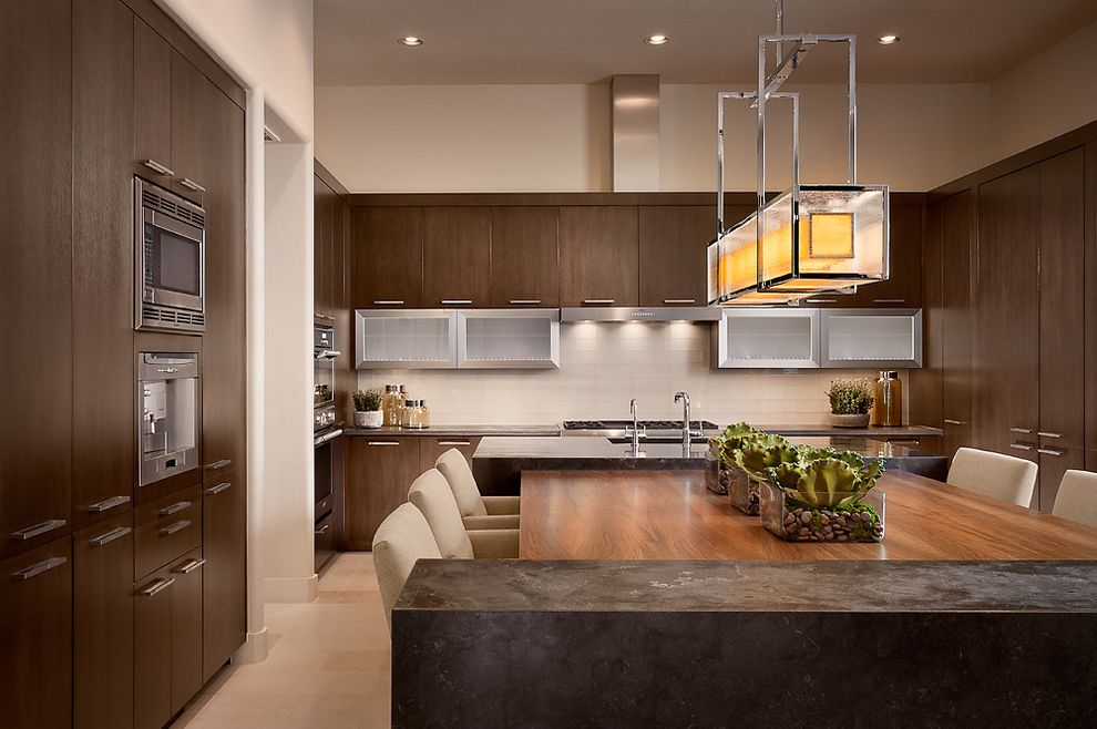 Edwards Appliances with Contemporary Kitchen  and Beige Walls Breakfast Bar Centerpiece Eat in Kitchen Kitchen Island Linear Chandelier Recessed Lighting