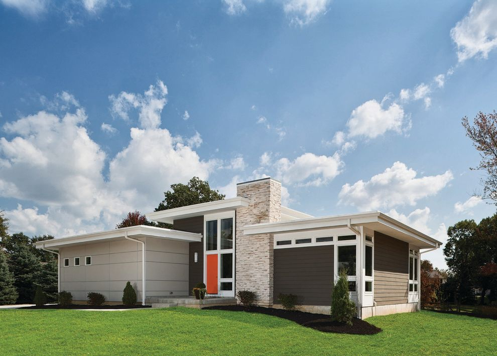 Eifs Siding   Midcentury Exterior Also Curb Appeal Flat Roof Foundation Planting Grass Lawn Midcentury Modern Red Front Door Stone Chimney Turf White Trim Wood Siding