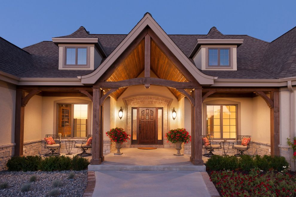 Eifs Siding   Traditional Exterior  and Dormers Eifs Eifs Siding Timber Beam Timber Column Timber Truss Tongue and Groove Wood Ceiling Wood Ceiling