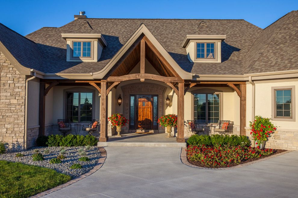 Eifs Siding with Traditional Exterior  and Dormers Eifs Eifs Siding Timber Beam Timber Column Timber Truss Tongue and Groove Wood Ceiling Wood Ceiling