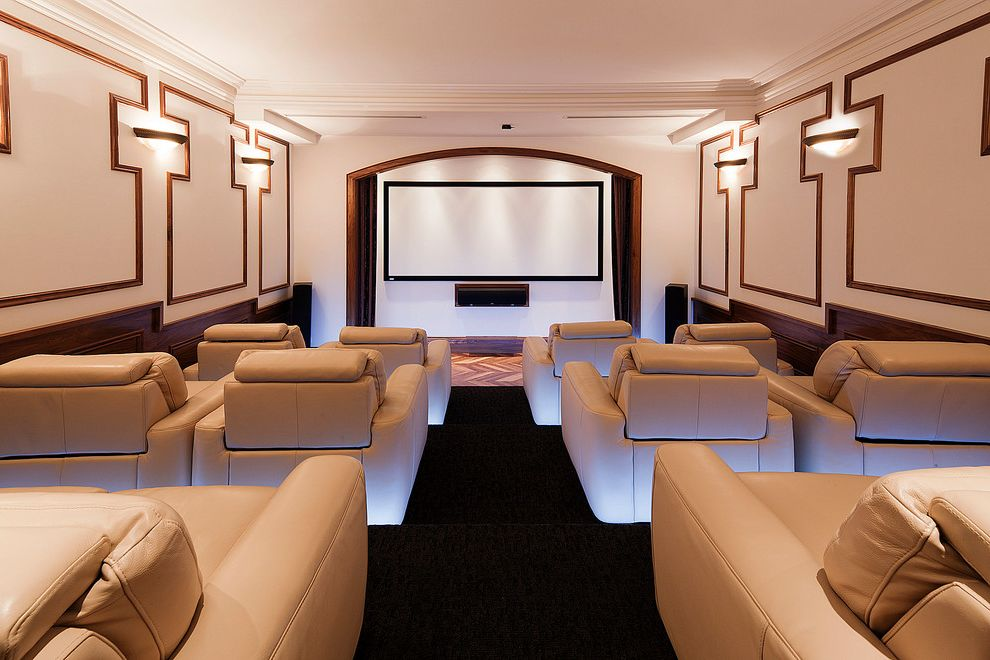 El Dorado Movie Theater   Transitional Home Theater Also Arch Black Floor Bowl Sconces Crown Molding French Home Home Theater Lighting Movie Viewing Room Speakers Wainscoting